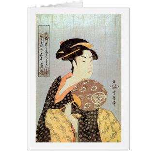 Cartes うちわを持つ女, femme de 歌麿 avec la fan ronde, Utamaro