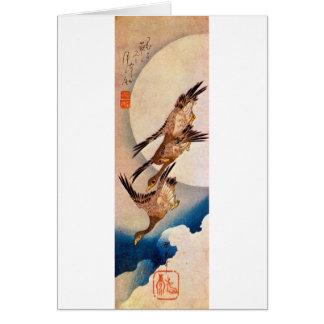 Cartes 月に雁, lune de 広重 et oie sauvage, Hiroshige, Ukiyo-e