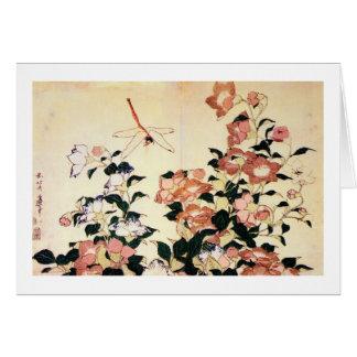 Cartes 桔梗, campanule de 北斎 et libellule, Hokusai, Ukiyoe