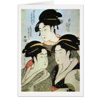 Cartes 江戸の三美人, belles femmes du 歌麿 trois d'Edo, Utamaro