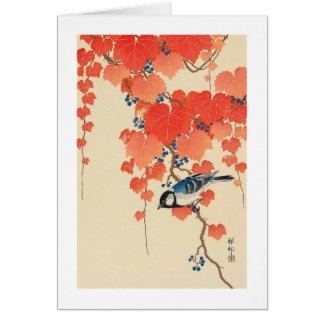 Cartes 赤い蔦に鳥, oiseau de 古邨 sur le lierre rouge, Koson,