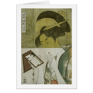 Cartes 鏡を見る女, femme de 歌麿 qui voit le miroir, Utamaro,