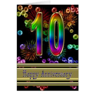 Cartes 10ème anniversaire avec des feux d'artifice et des