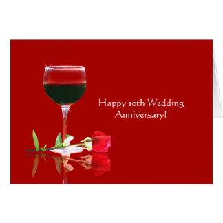 Cartes 10ème anniversaire de mariage heureux élégant
