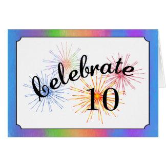 Cartes 10ème Célébration d'anniversaire