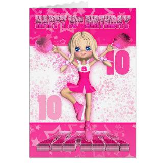 Cartes 10ème Pom-pom girl d'anniversaire dansant, étoiles