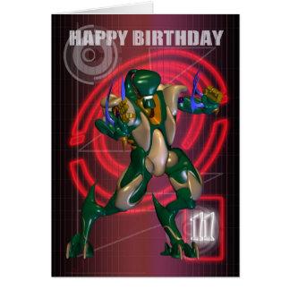 Cartes 11ème Joyeux anniversaire avec le guerrier de