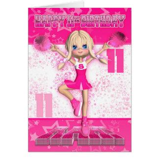 Cartes 11ème Pom-pom girl d'anniversaire dansant, étoiles