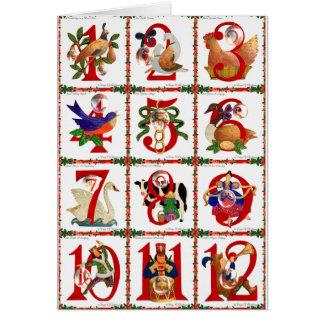 Cartes 12 jours de cadeaux d'impression d'édredon de Noël