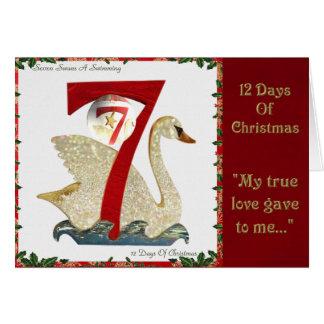 Cartes 12 jours de Noël sept cygnes une natation