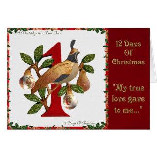 Cartes 12 jours de perdrix de Noël dans un poirier