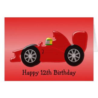 Cartes 12ème anniversaire de voiture de course rouge
