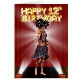 Cartes 12ème deva heureux d'étoile d'anniversaire sur