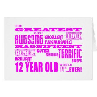 Cartes 12èmes anniversaires de filles : Plus grands 12