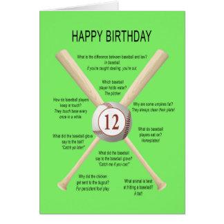 Cartes 12èmes plaisanteries de base-ball d'anniversaire