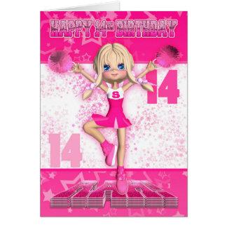 Cartes 14ème Pom-pom girl d'anniversaire dansant, étoiles