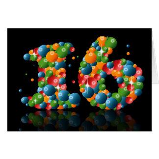 Cartes 16ème anniversaire avec des nombres formés des