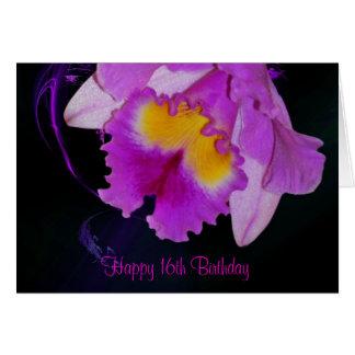 Cartes 16ème anniversaire d'orchidée pourpre