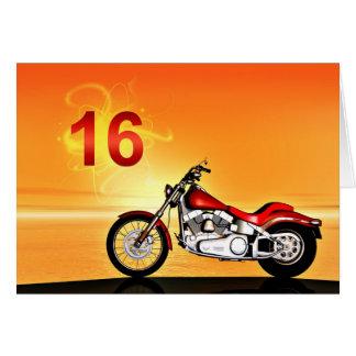 Cartes 16ème coucher du soleil de moto d'anniversaire