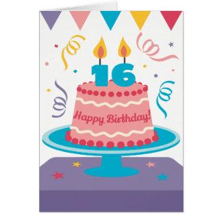 Cartes 16ème Gâteau d'anniversaire