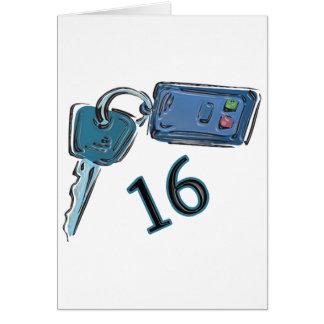 Cartes 16ème L'anniversaire verrouille des cadeaux