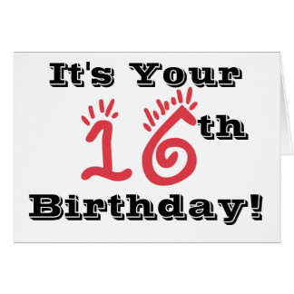 Cartes 16ème salutation d'anniversaire d'amusement en le