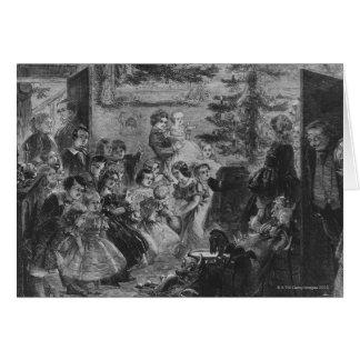 Cartes 1858 : Une famille autour de l'arbre de Noël