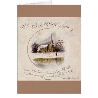 Cartes 1886 : Une scène victorienne neigeuse d'hiver