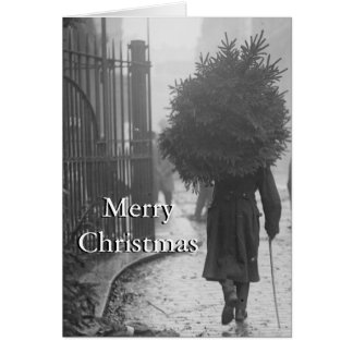 Cartes 1915 : Un soldat portant un arbre de Noël