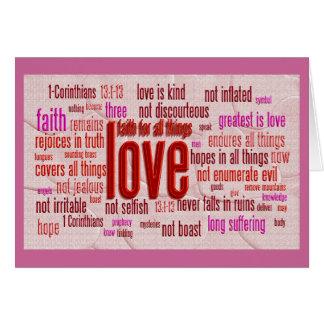 Cartes 1 13:1 de Corinthiens - tissu de 13 coeurs