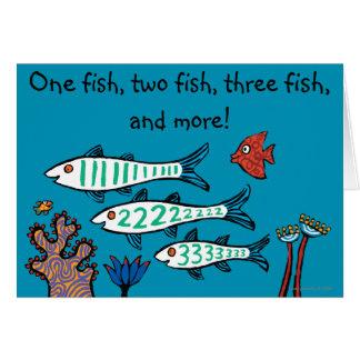 Cartes 1, 2, 3 poissons avec de petits poissons et corail