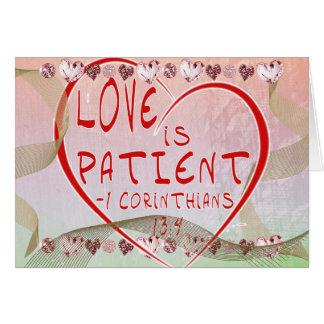 Cartes 1 amour de 13:4 de Corinthiens est patient