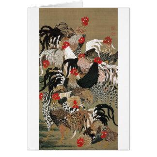 Cartes 20. 群鶏図, troupeau de 若冲 des coqs, Jakuchu