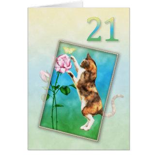 Cartes 21ème Anniversaire avec un chat espiègle