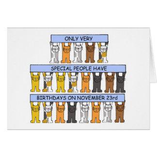 Cartes 23 novembre chats d'anniversaire