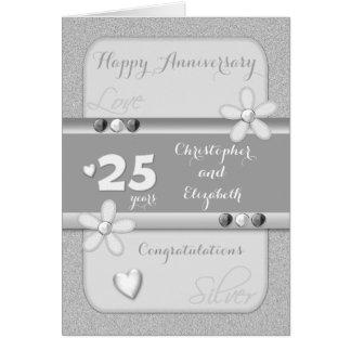 Cartes 25ème anniversaire de noces d'argent personnalisé