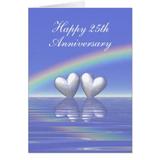 Cartes 25ème Coeurs argentés d'anniversaire (grands)