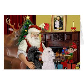 Cartes 2 caniches standard de Père Noël