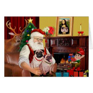 Cartes 2 carlins de Père Noël (f+B)