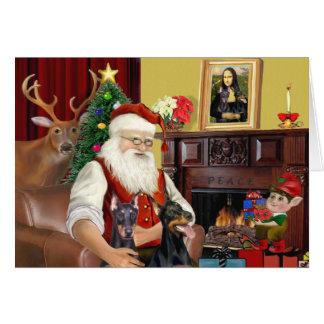 Cartes 2 Pinschers du dobermann de Père Noël