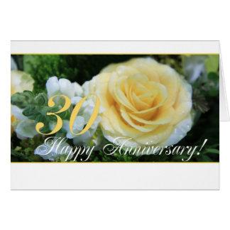 Cartes 30ème Anniversaire de mariage - rose jaune