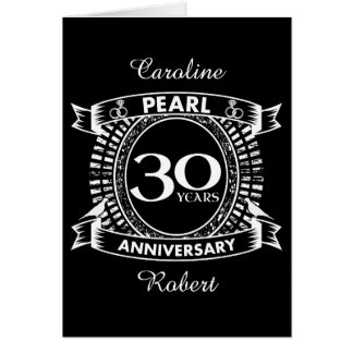 Cartes 30ème crête de perle d'anniversaire de mariage