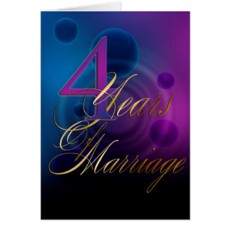 Cartes 4 ans de mariage (carte d'anniversaire)