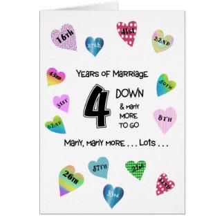 Cartes 4ème anniversaire de coeurs heureux