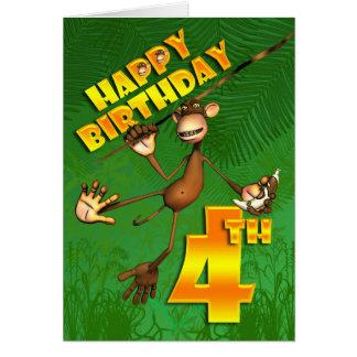 Cartes 4ème banane heureuse de singe d'anniversaire