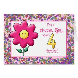 Cartes 4ème Fleur rose mignonne et smiley d'anniversaire