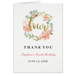 Cartes 4ème Guirlande florale d'or rose d'anniversaire