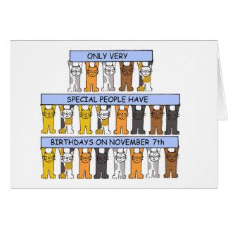 Cartes 7 novembre anniversaires célébrés par des chats