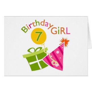 Cartes 7ème anniversaire - fille d'anniversaire