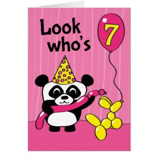 Cartes 7ème anniversaire - panda de fille avec des